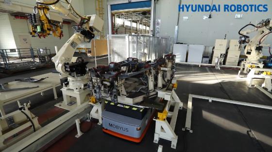 机器人与AGV联动应用_取料/搬运码垛/点焊/_现代机器人