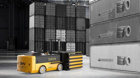 【案例介绍】OMV运载车自动搬运轮胎放置集装箱项目