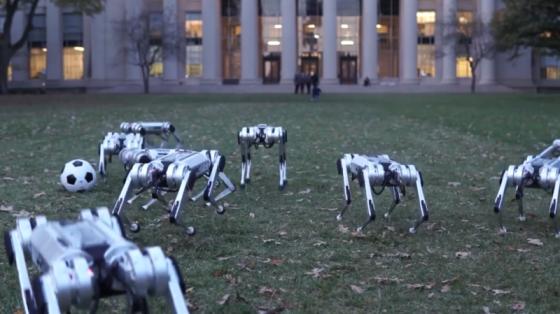 MIT四足猎豹机器人组队踢足球